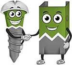 Rot et Rex les mascottes de l'usine des ossatures metalliques Unic Rotarex®